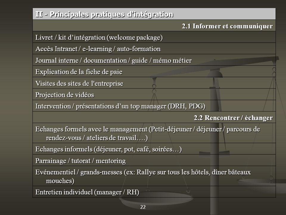 22 II - Principales pratiques d'intégration 2.1 Informer et communiquer Livret / kit dintégration (welcome package) Accès Intranet / e-learning / auto