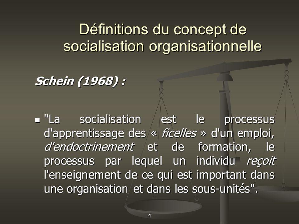 4 Définitions du concept de socialisation organisationnelle Schein (1968) :