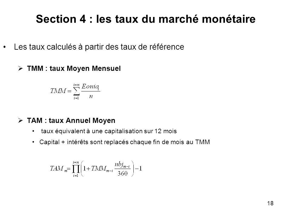 18 Section 4 : les taux du marché monétaire Les taux calculés à partir des taux de référence TMM : taux Moyen Mensuel TAM : taux Annuel Moyen taux équ