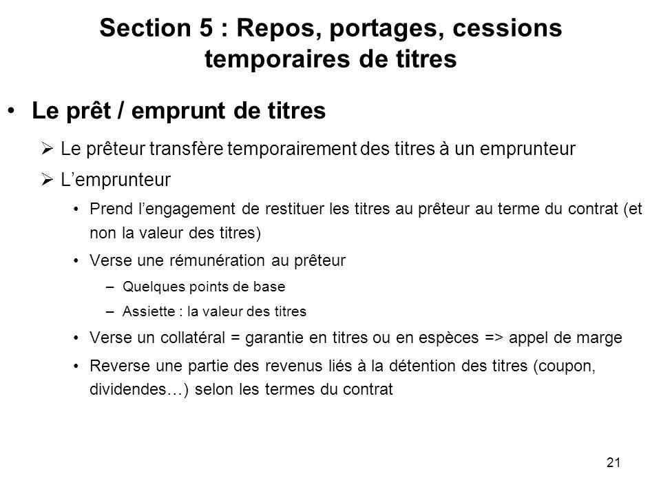 21 Section 5 : Repos, portages, cessions temporaires de titres Le prêt / emprunt de titres Le prêteur transfère temporairement des titres à un emprunt
