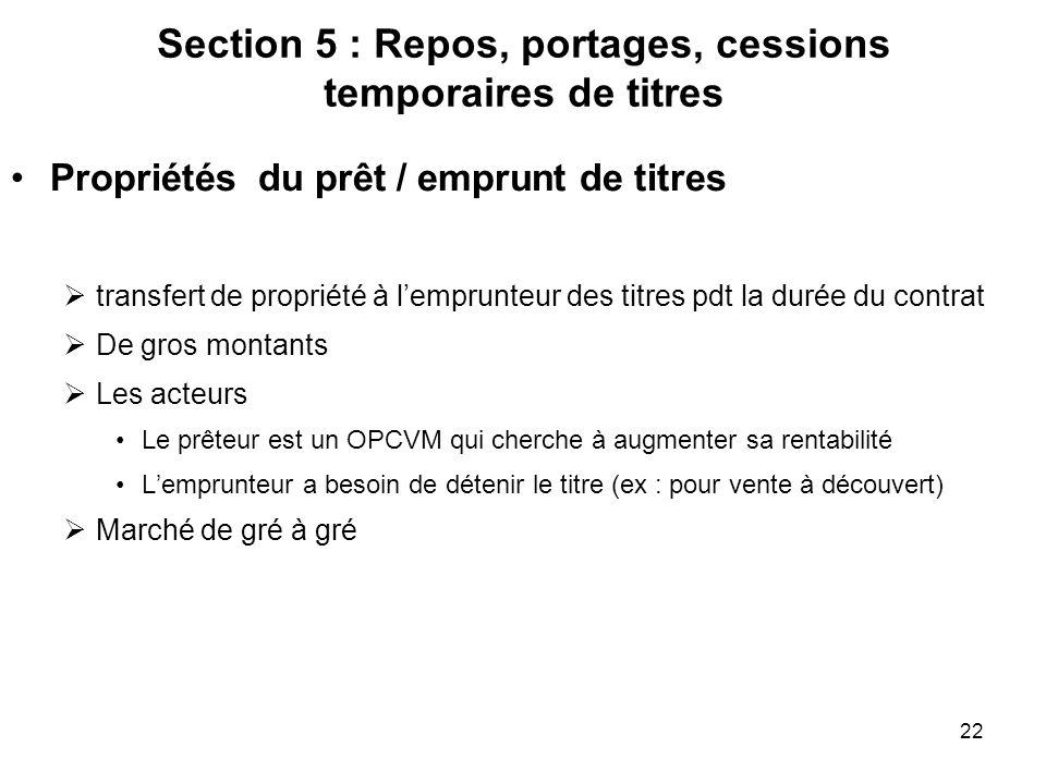 22 Section 5 : Repos, portages, cessions temporaires de titres Propriétés du prêt / emprunt de titres transfert de propriété à lemprunteur des titres