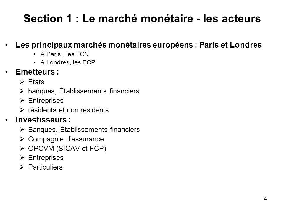 4 Section 1 : Le marché monétaire - les acteurs Les principaux marchés monétaires européens : Paris et Londres A Paris, les TCN A Londres, les ECP Eme