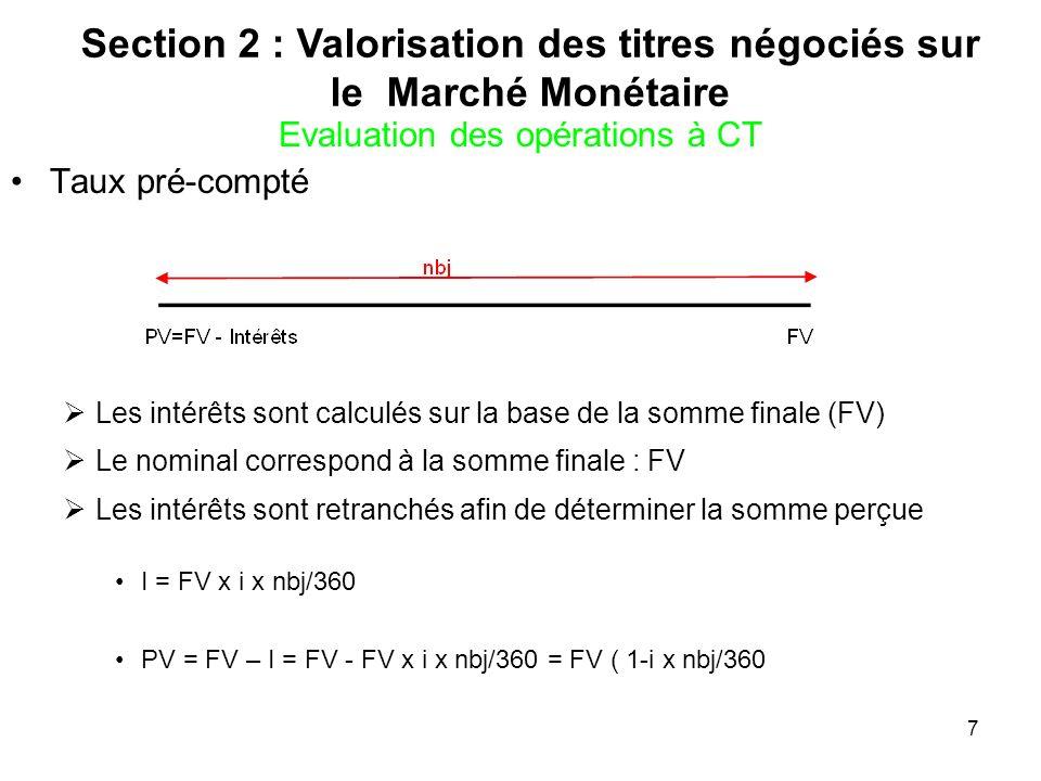 7 Evaluation des opérations à CT Taux pré-compté Les intérêts sont calculés sur la base de la somme finale (FV) Le nominal correspond à la somme final