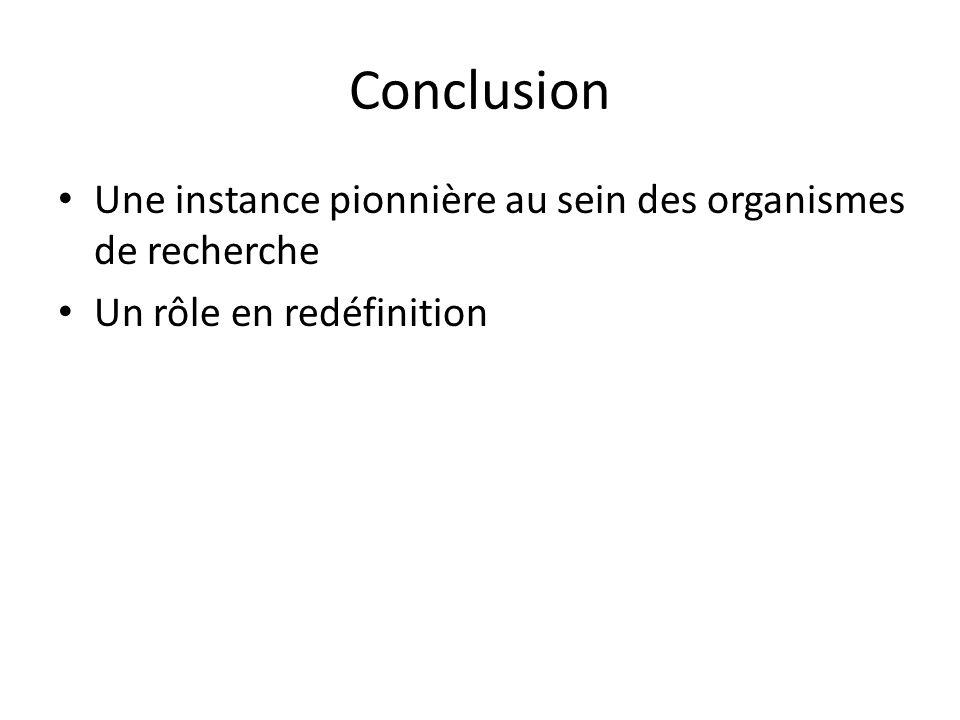 Conclusion Une instance pionnière au sein des organismes de recherche Un rôle en redéfinition