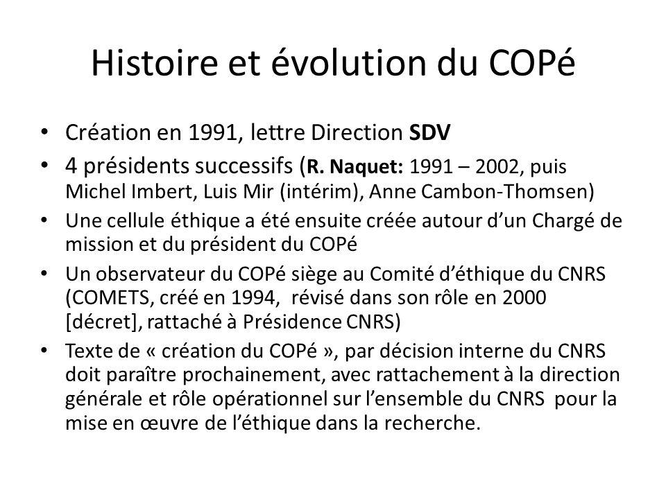 Histoire et évolution du COPé Création en 1991, lettre Direction SDV 4 présidents successifs ( R.