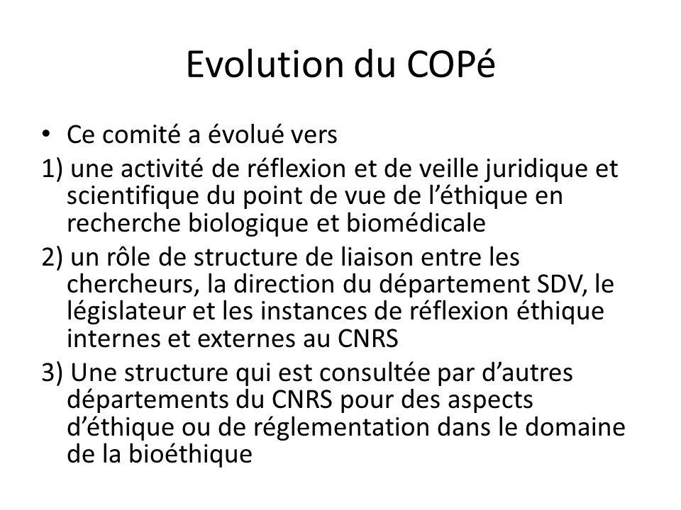 Evolution du COPé Ce comité a évolué vers 1) une activité de réflexion et de veille juridique et scientifique du point de vue de léthique en recherche biologique et biomédicale 2) un rôle de structure de liaison entre les chercheurs, la direction du département SDV, le législateur et les instances de réflexion éthique internes et externes au CNRS 3) Une structure qui est consultée par dautres départements du CNRS pour des aspects déthique ou de réglementation dans le domaine de la bioéthique