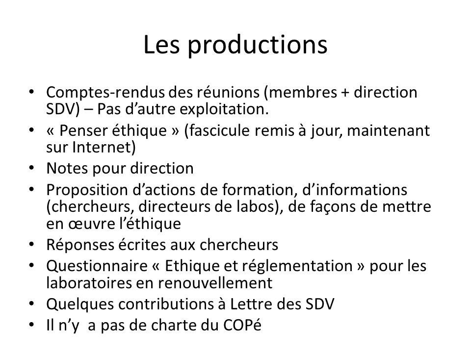 Les productions Comptes-rendus des réunions (membres + direction SDV) – Pas dautre exploitation.