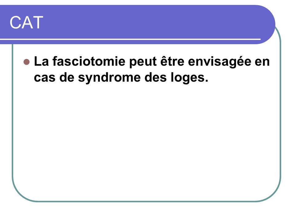 CAT La fasciotomie peut être envisagée en cas de syndrome des loges.