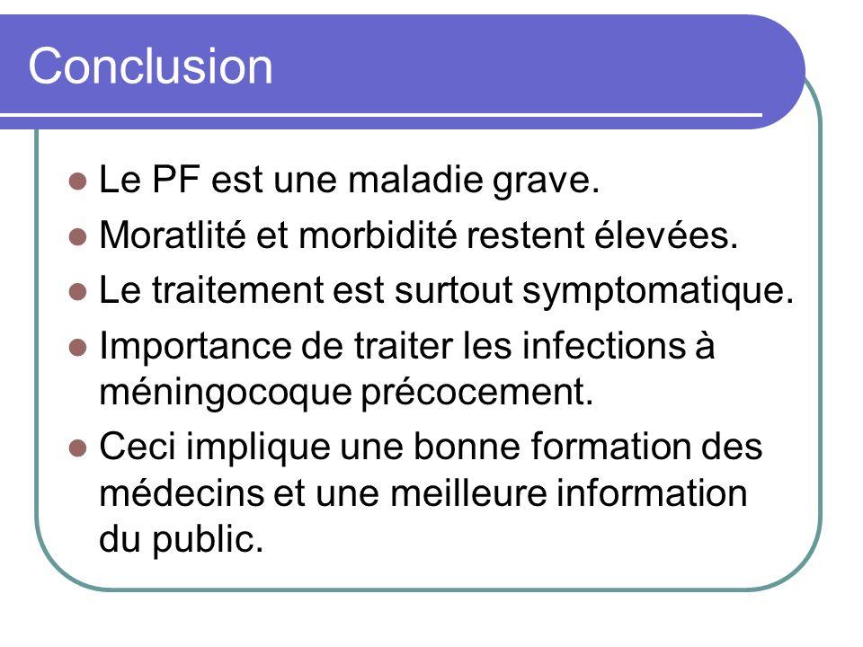 Conclusion Le PF est une maladie grave. Moratlité et morbidité restent élevées. Le traitement est surtout symptomatique. Importance de traiter les inf