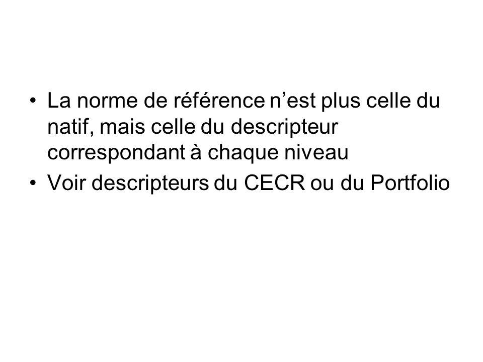 La norme de référence nest plus celle du natif, mais celle du descripteur correspondant à chaque niveau Voir descripteurs du CECR ou du Portfolio