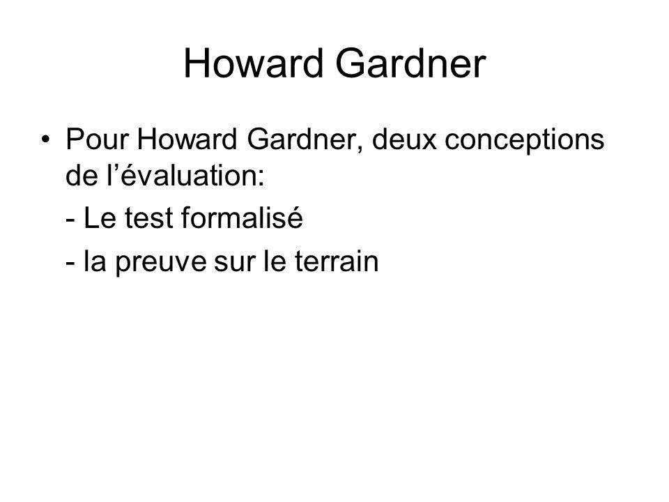 Howard Gardner Pour Howard Gardner, deux conceptions de lévaluation: - Le test formalisé - la preuve sur le terrain