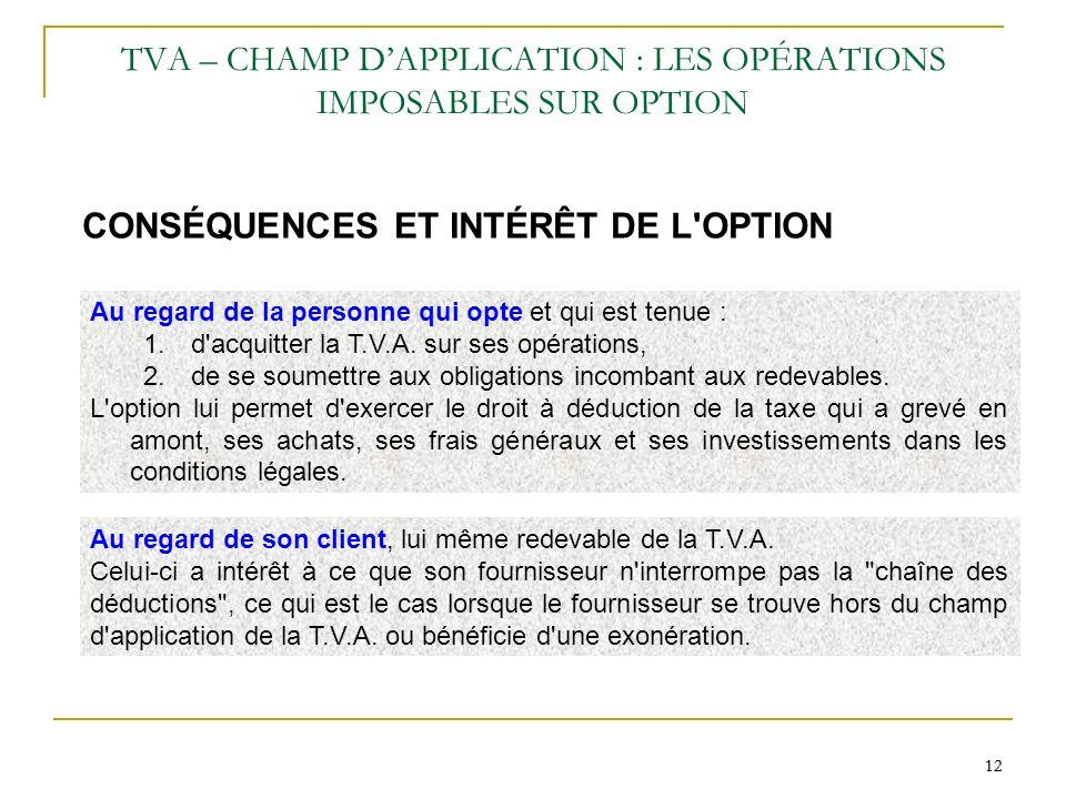 12 TVA – CHAMP DAPPLICATION : LES OPÉRATIONS IMPOSABLES SUR OPTION CONSÉQUENCES ET INTÉRÊT DE L'OPTION Au regard de son client, lui même redevable de