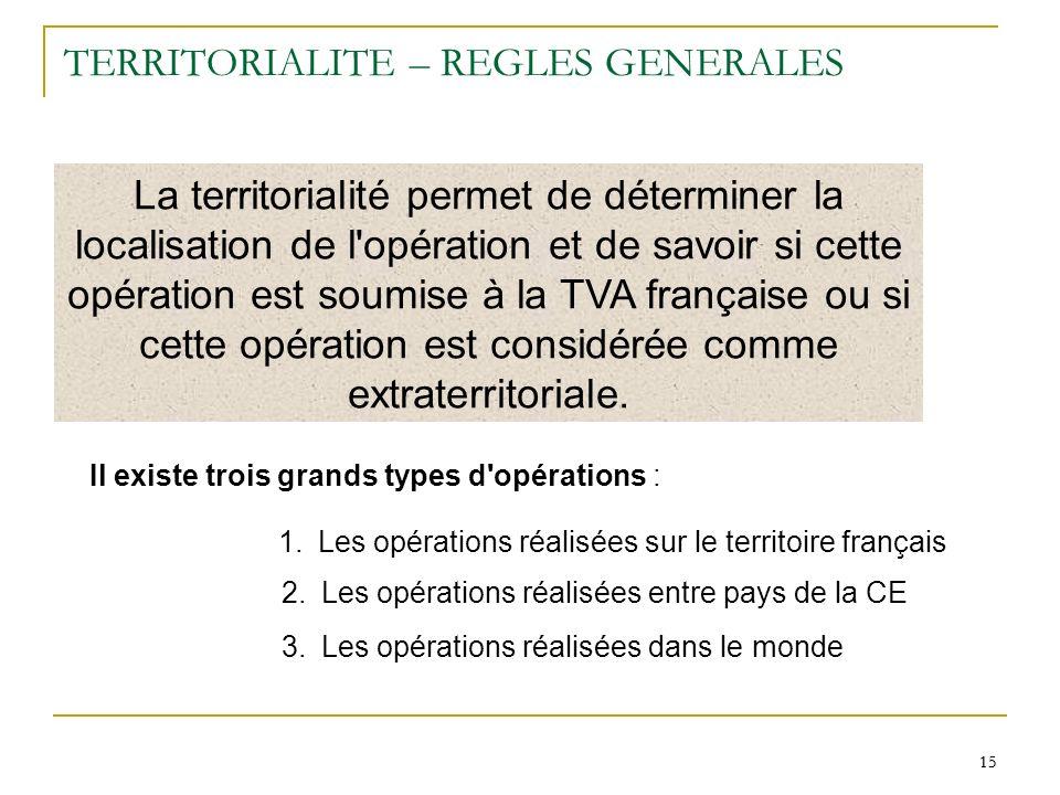 15 TERRITORIALITE – REGLES GENERALES La territorialité permet de déterminer la localisation de l'opération et de savoir si cette opération est soumise