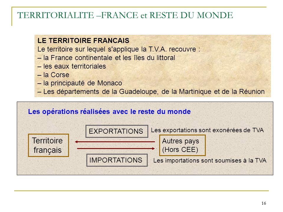 16 TERRITORIALITE –FRANCE et RESTE DU MONDE LE TERRITOIRE FRANCAIS Le territoire sur lequel s'applique la T.V.A. recouvre : – la France continentale e