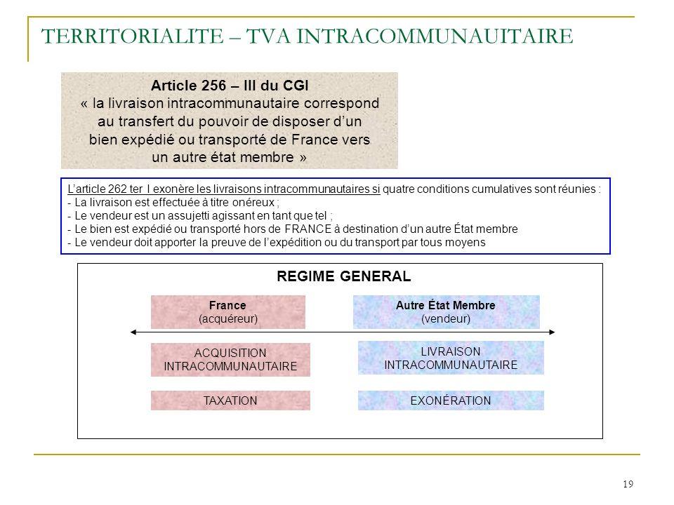 19 TERRITORIALITE – TVA INTRACOMMUNAUITAIRE Article 256 – III du CGI « la livraison intracommunautaire correspond au transfert du pouvoir de disposer
