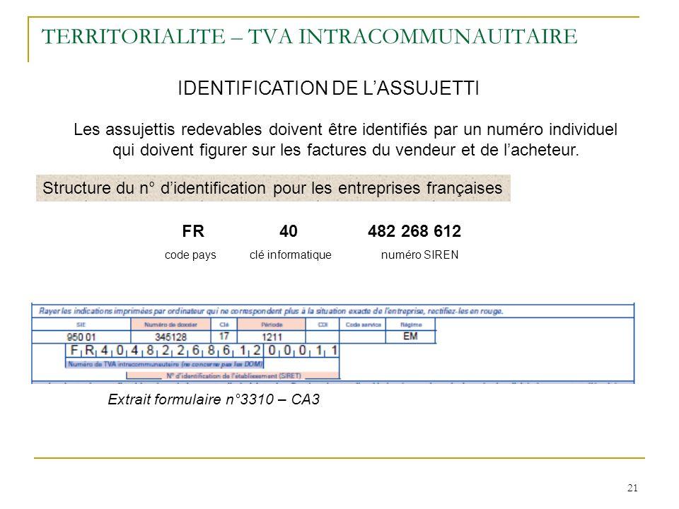 21 TERRITORIALITE – TVA INTRACOMMUNAUITAIRE IDENTIFICATION DE LASSUJETTI Les assujettis redevables doivent être identifiés par un numéro individuel qu