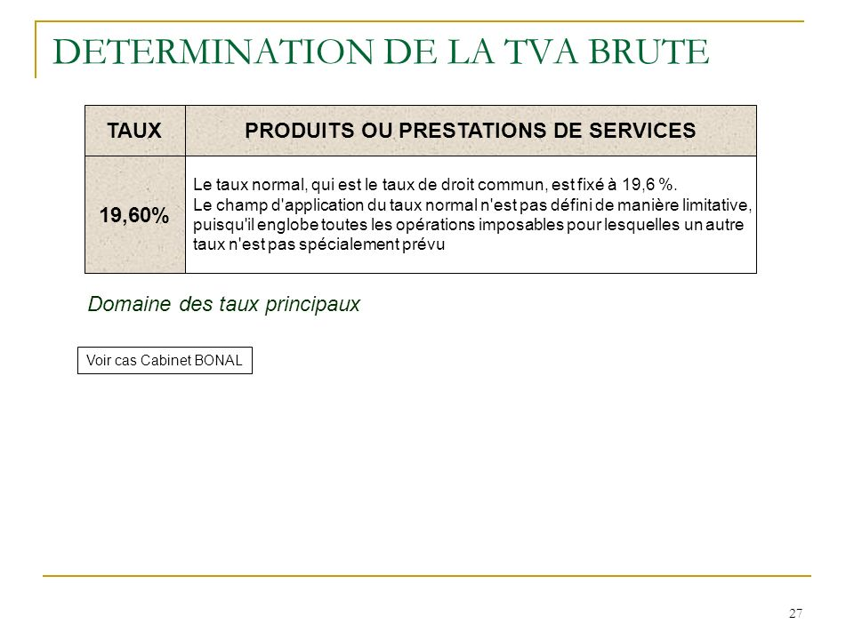 27 DETERMINATION DE LA TVA BRUTE TAUXPRODUITS OU PRESTATIONS DE SERVICES 19,60% Le taux normal, qui est le taux de droit commun, est fixé à 19,6 %. Le