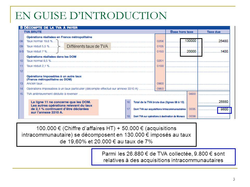 3 EN GUISE DINTRODUCTION 100.000 (Chiffre daffaires HT) + 50.000 (acquisitions intracommunautaire) se décomposent en 130.000 imposés au taux de 19,60%