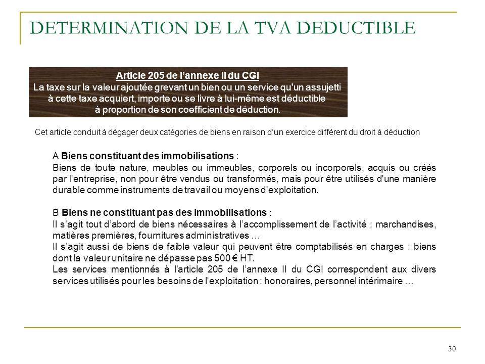 30 DETERMINATION DE LA TVA DEDUCTIBLE Article 205 de lannexe II du CGI La taxe sur la valeur ajoutée grevant un bien ou un service qu'un assujetti à c