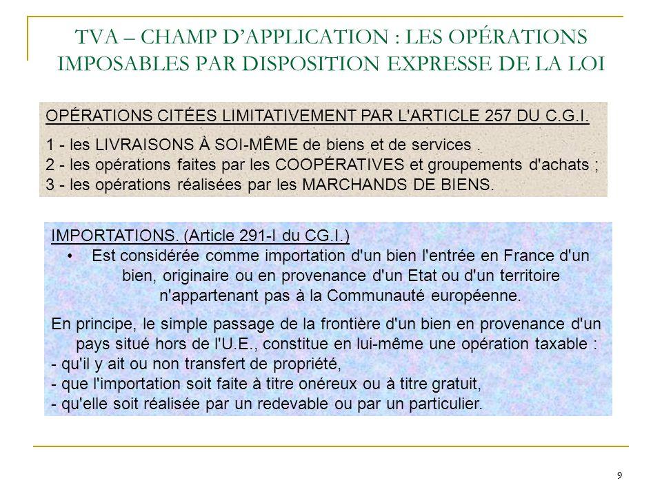 10 TVA – CHAMP DAPPLICATION : LES OPÉRATIONS EXONEREES Les articles 261 à 263 du C.G.I.