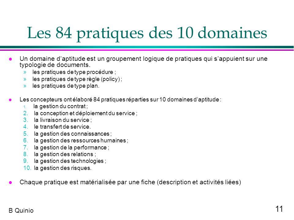 11 B Quinio Les 84 pratiques des 10 domaines l Un domaine daptitude est un groupement logique de pratiques qui sappuient sur une typologie de document