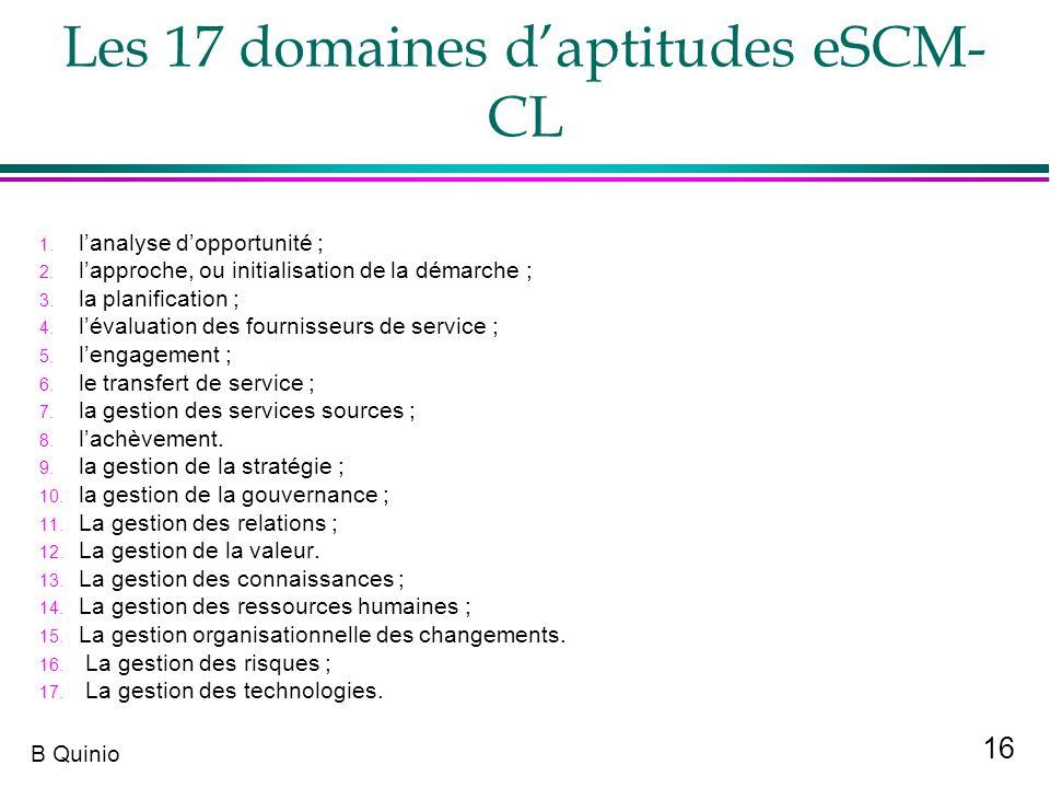 16 B Quinio Les 17 domaines daptitudes eSCM- CL 1. lanalyse dopportunité ; 2. lapproche, ou initialisation de la démarche ; 3. la planification ; 4. l