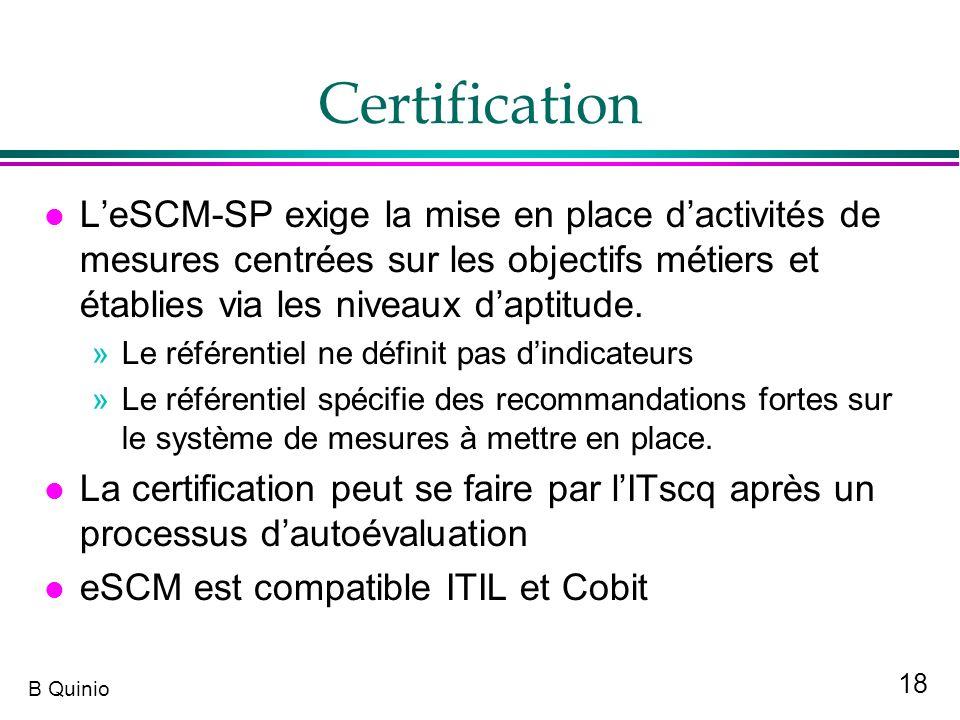 18 B Quinio Certification l LeSCM-SP exige la mise en place dactivités de mesures centrées sur les objectifs métiers et établies via les niveaux dapti