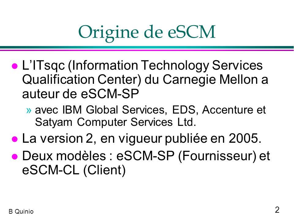2 B Quinio Origine de eSCM l LITsqc (Information Technology Services Qualification Center) du Carnegie Mellon a auteur de eSCM-SP »avec IBM Global Ser