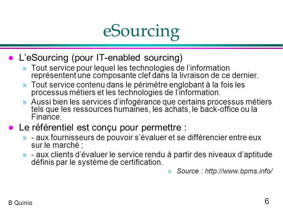6 B Quinio eSourcing l LeSourcing (pour IT-enabled sourcing) »Tout service pour lequel les technologies de linformation représentent une composante cl