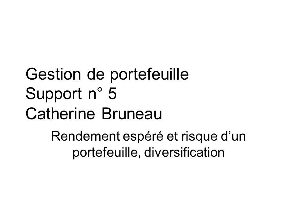 Gestion de portefeuille Support n° 5 Catherine Bruneau Rendement espéré et risque dun portefeuille, diversification