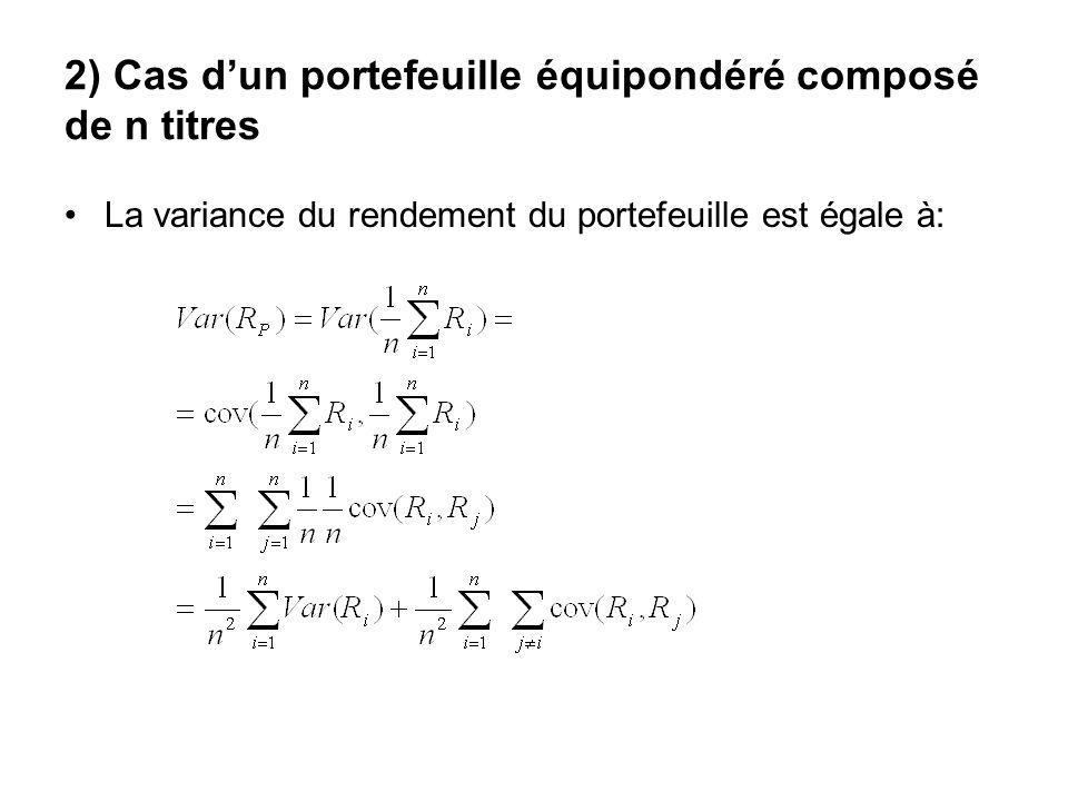 2) Cas dun portefeuille équipondéré composé de n titres La variance du rendement du portefeuille est égale à: