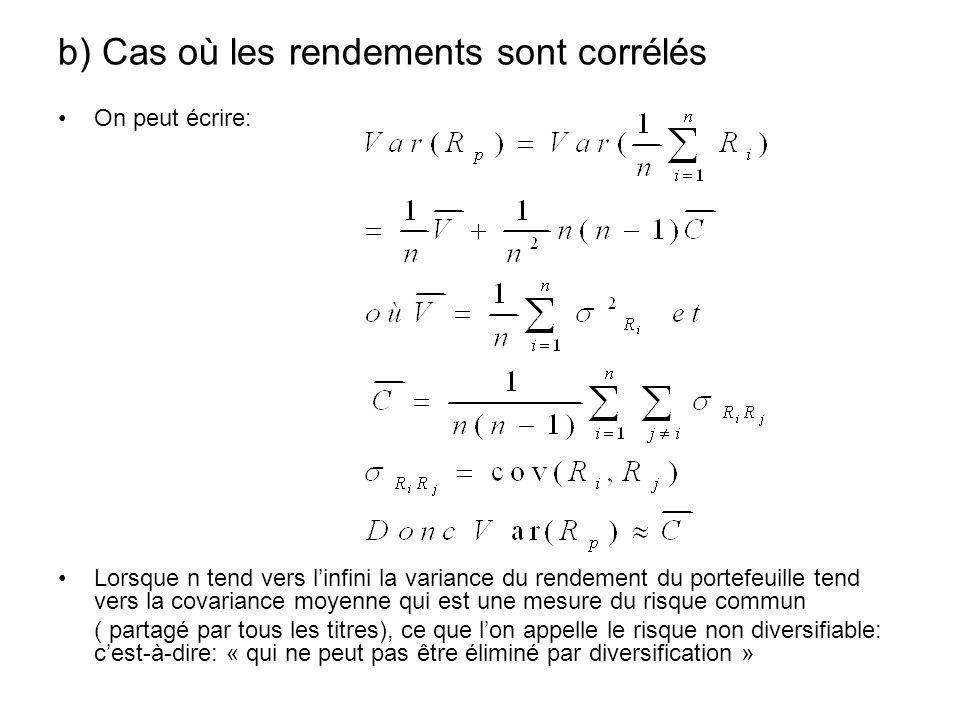 b) Cas où les rendements sont corrélés On peut écrire: Lorsque n tend vers linfini la variance du rendement du portefeuille tend vers la covariance mo