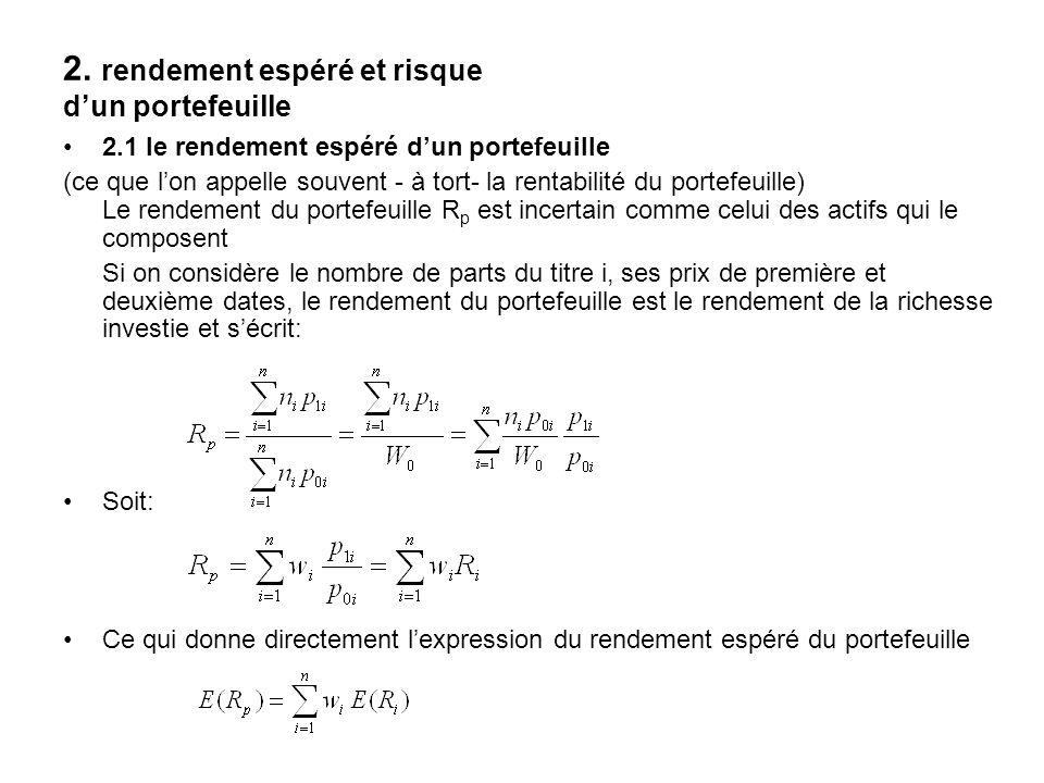 2.2 le risque du portefeuille Il est mesuré par la variance de son rendement: Ce qui peut être écrit,de manière matricielle, sous la forme: Var(R) désignant la matrice nxn de variance - covariance du vecteur des rendements