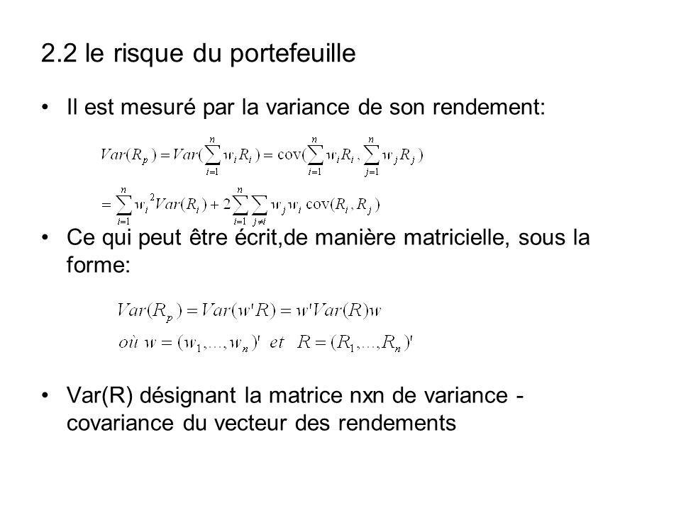 2.2 le risque du portefeuille Il est mesuré par la variance de son rendement: Ce qui peut être écrit,de manière matricielle, sous la forme: Var(R) dés