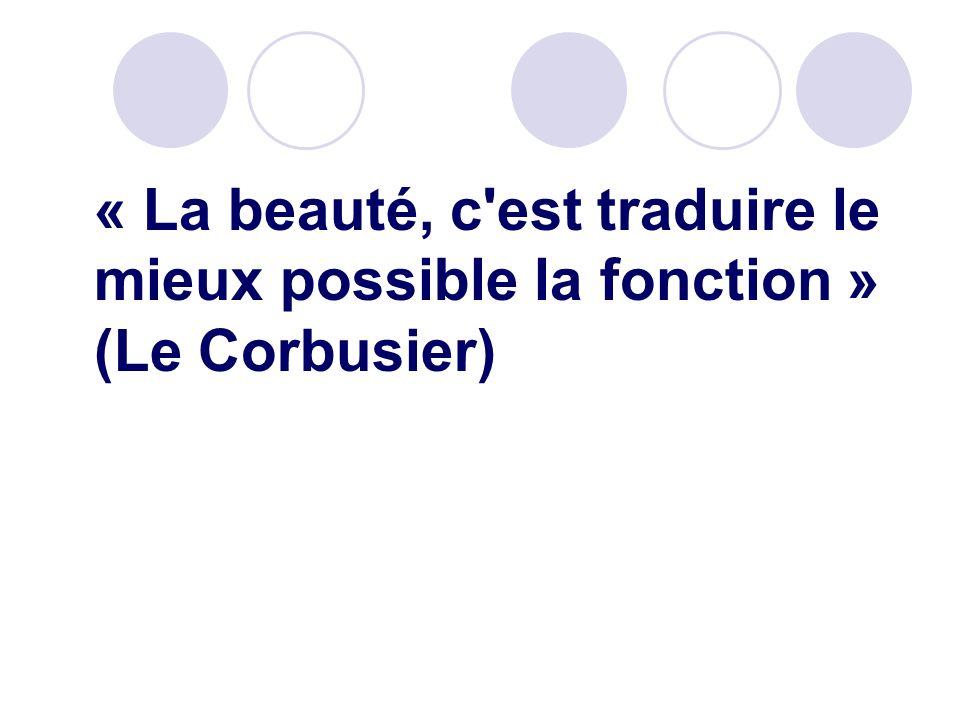 « La beauté, c'est traduire le mieux possible la fonction » (Le Corbusier)