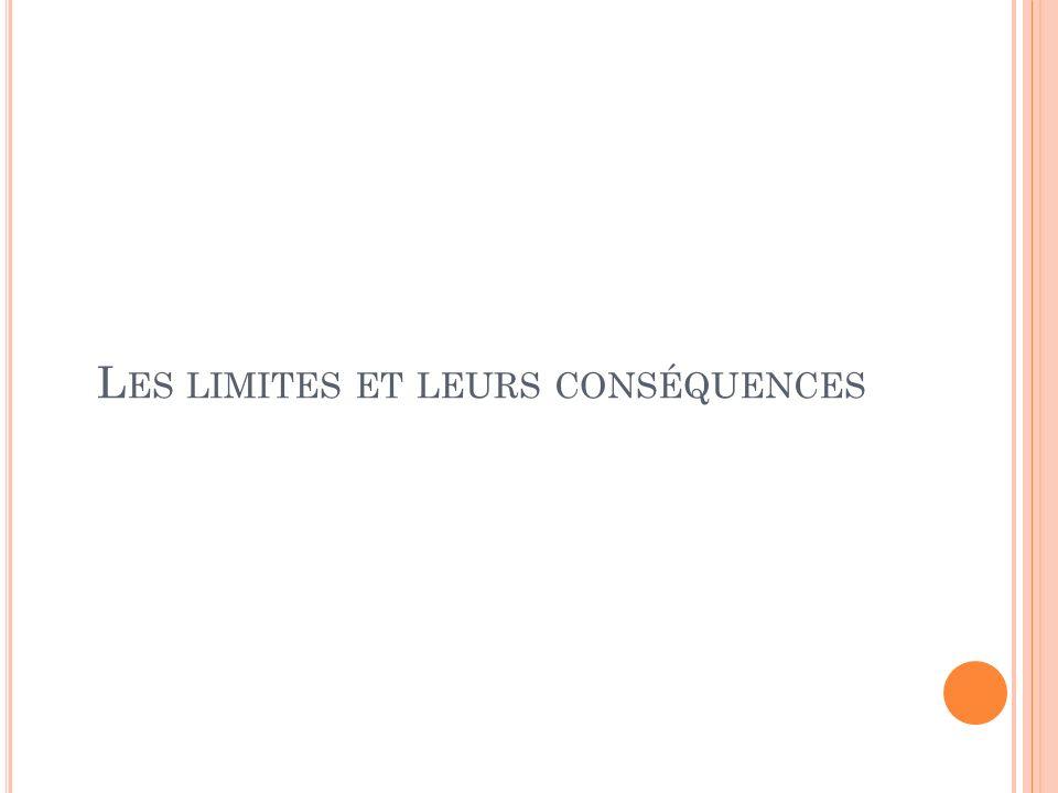 L ES LIMITES ET LEURS CONSÉQUENCES