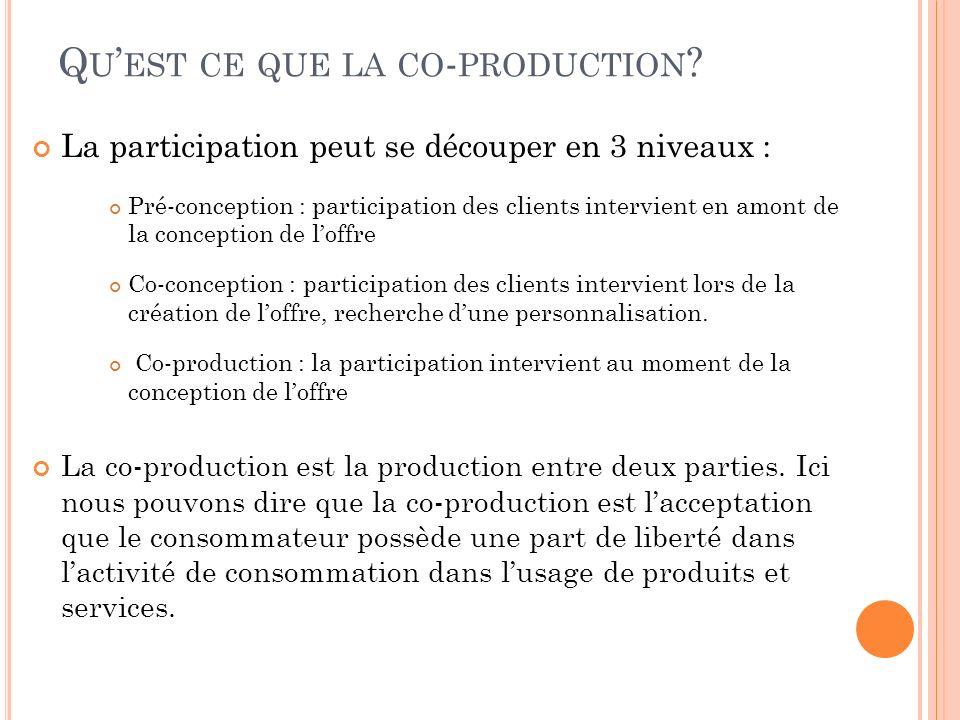 Q U EST CE QUE LA CO - PRODUCTION ? La participation peut se découper en 3 niveaux : Pré-conception : participation des clients intervient en amont de