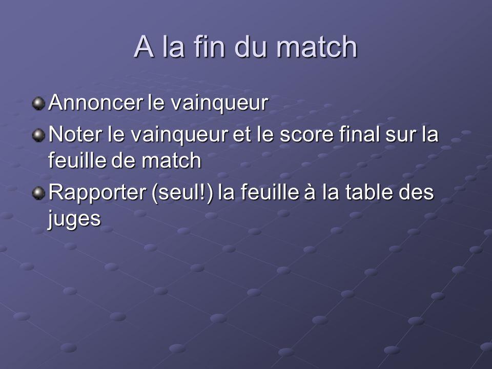 A la fin du match Annoncer le vainqueur Noter le vainqueur et le score final sur la feuille de match Rapporter (seul!) la feuille à la table des juges