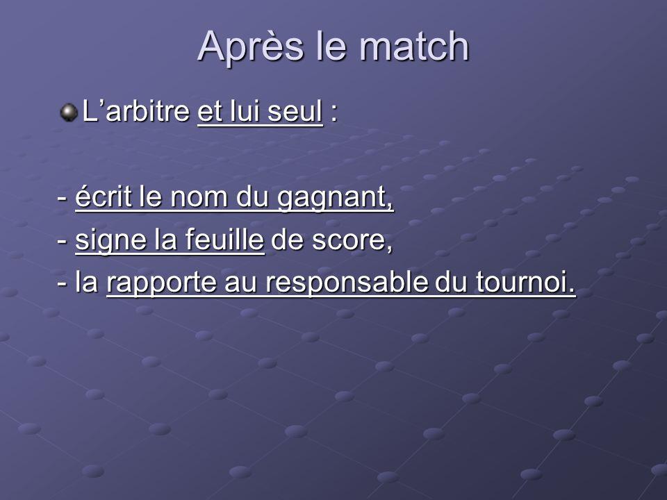 Après le match Larbitre et lui seul : - écrit le nom du gagnant, - signe la feuille de score, - la rapporte au responsable du tournoi.