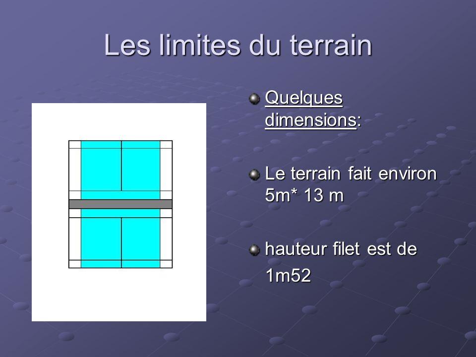 Les limites du terrain Quelques dimensions: Le terrain fait environ 5m* 13 m hauteur filet est de 1m52