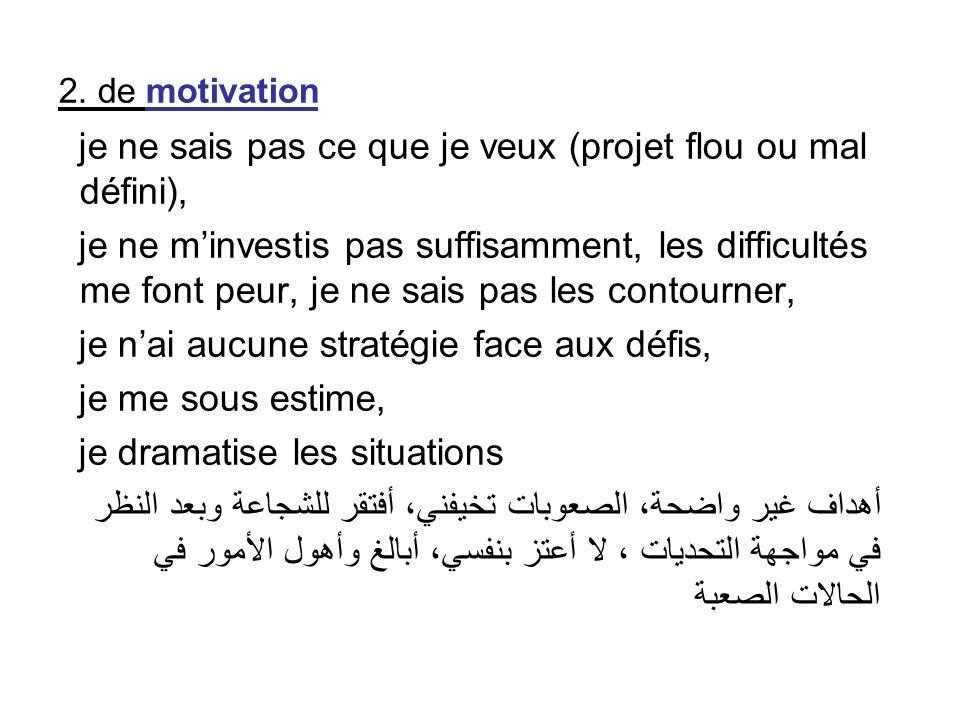 2. de motivation je ne sais pas ce que je veux (projet flou ou mal défini), je ne minvestis pas suffisamment, les difficultés me font peur, je ne sais