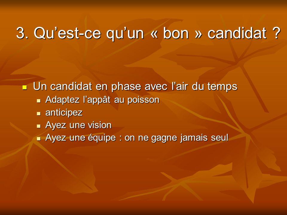 3. Quest-ce quun « bon » candidat ? Un candidat en phase avec lair du temps Un candidat en phase avec lair du temps Adaptez lappât au poisson Adaptez