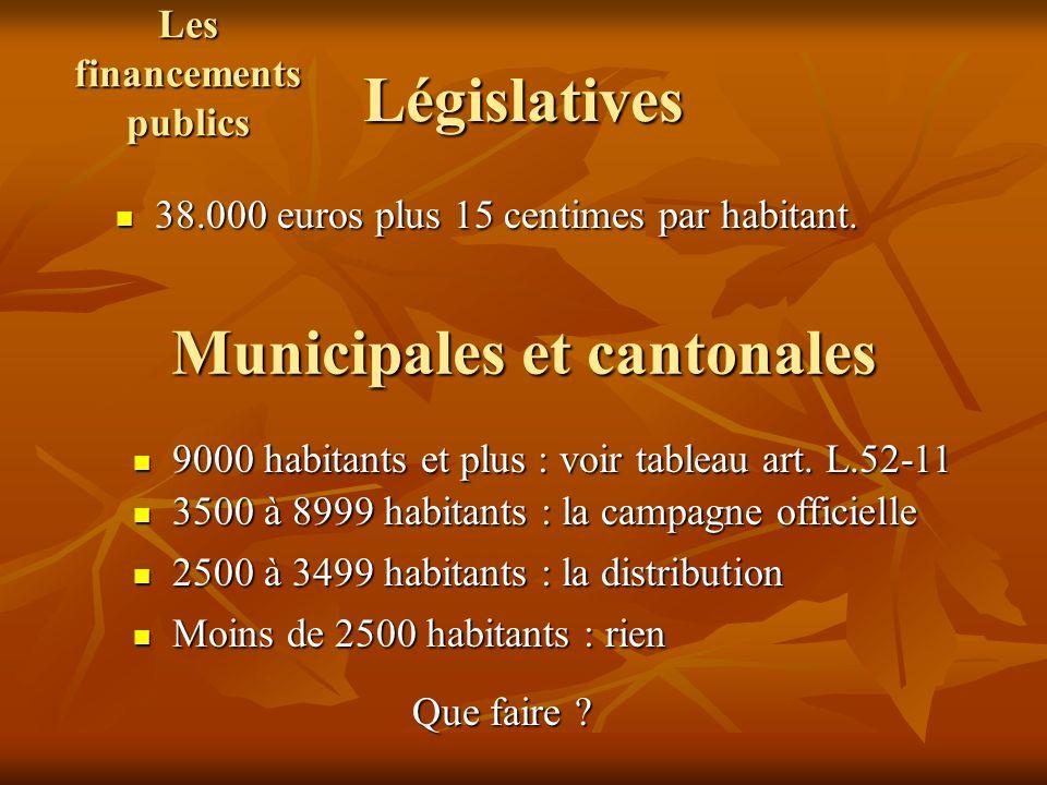 Législatives 38.000 euros plus 15 centimes par habitant. 38.000 euros plus 15 centimes par habitant. Municipales et cantonales 9000 habitants et plus