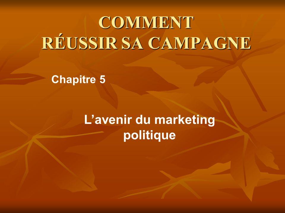 COMMENT RÉUSSIR SA CAMPAGNE Lavenir du marketing politique Chapitre 5