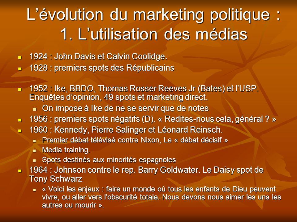 Lévolution du marketing politique : 1. Lutilisation des médias 1924 : John Davis et Calvin Coolidge. 1924 : John Davis et Calvin Coolidge. 1928 : prem
