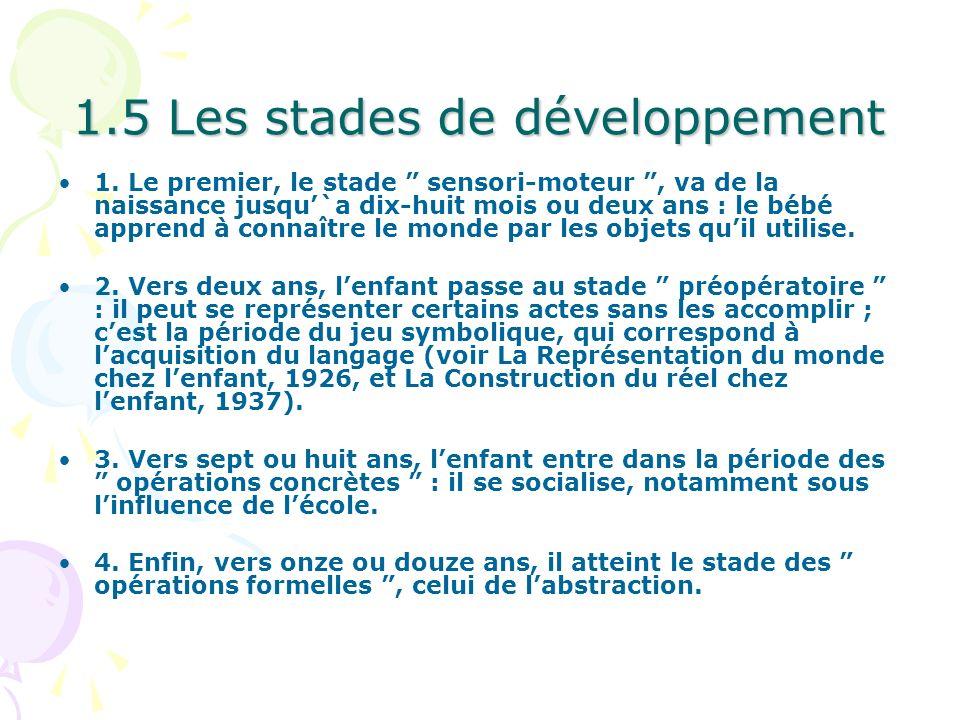 1.5 Les stades de développement 1. Le premier, le stade sensori-moteur, va de la naissance jusqu`a dix-huit mois ou deux ans : le bébé apprend à conna