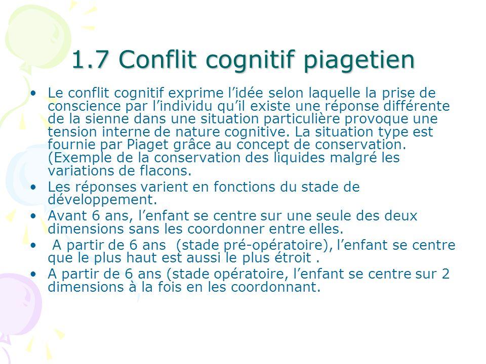 1.7 Conflit cognitif piagetien Le conflit cognitif exprime lidée selon laquelle la prise de conscience par lindividu quil existe une réponse différent