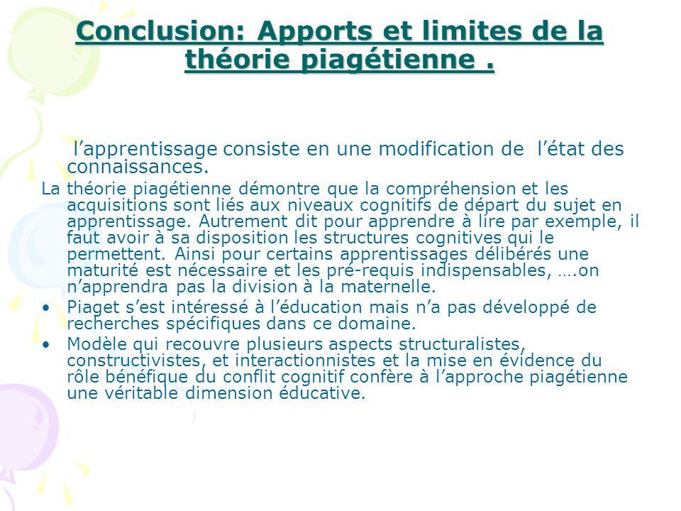 Conclusion: Apports et limites de la théorie piagétienne. lapprentissage consiste en une modification de létat des connaissances. La théorie piagétien