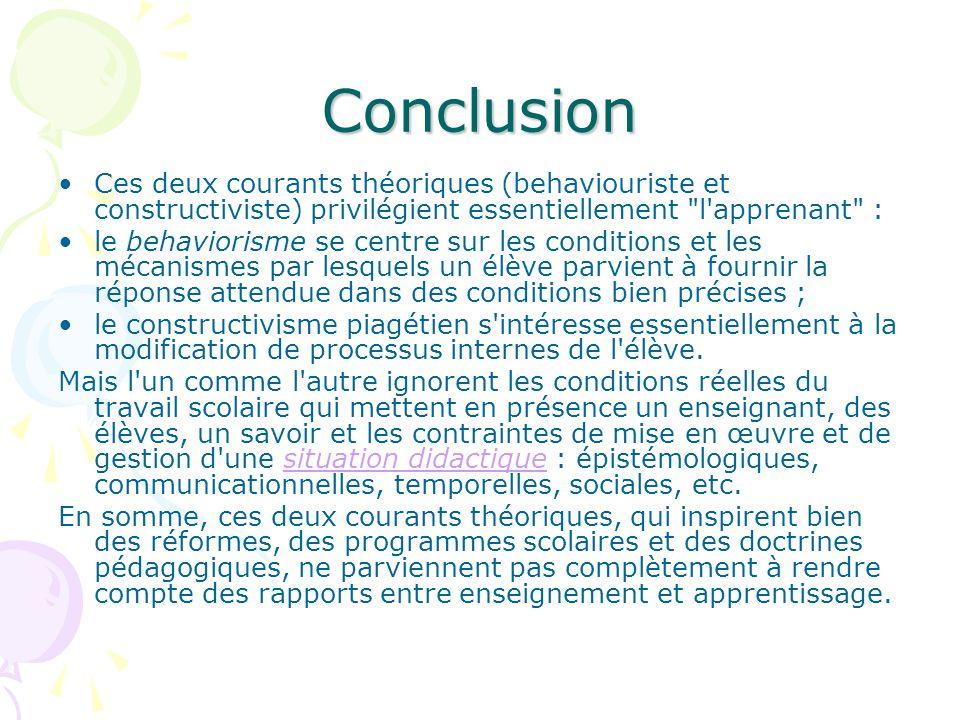 Conclusion Ces deux courants théoriques (behaviouriste et constructiviste) privilégient essentiellement