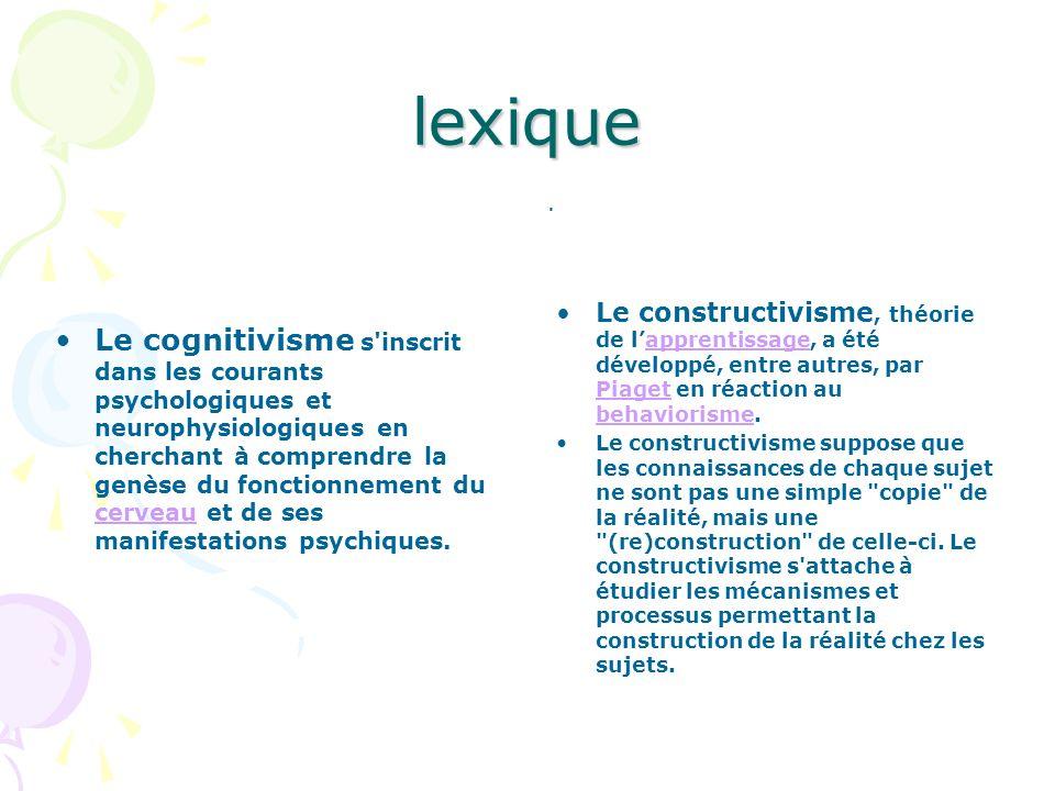 lexique Le cognitivisme s'inscrit dans les courants psychologiques et neurophysiologiques en cherchant à comprendre la genèse du fonctionnement du cer